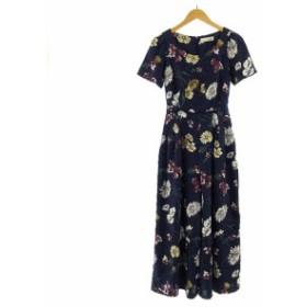 【中古】リリーブラウン Lily Brown オールインワン 半袖 ロングパンツ リボン 花柄 ネイビー 紺 1 レディース