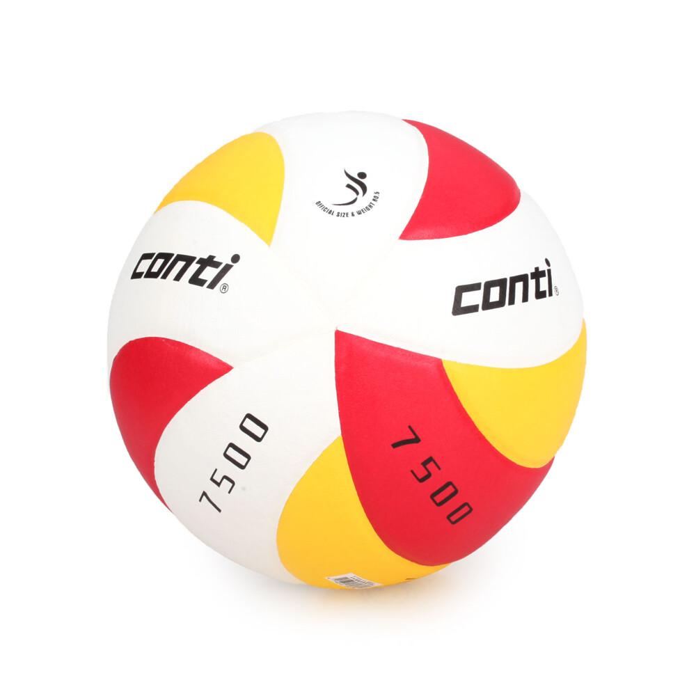 conti 5號日本頂級超級細纖纖維貼布排球 紅黃白