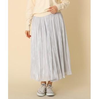 Couture Brooch(クチュールブローチ) 【手洗い可】オーロラサテンプリーツスカート