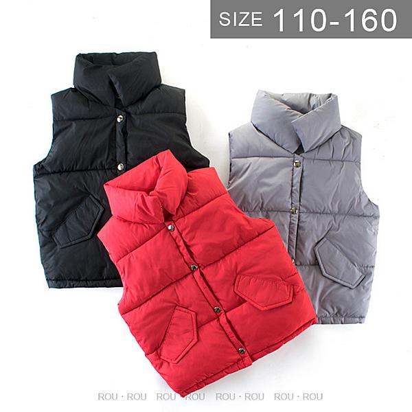 韓版男女童鋪棉背心。ROUROU童裝。冬男女童中大童立領純色鋪棉背心 0344-071