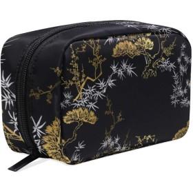 GUKISALA 化粧ポーチ,ベクトルシームレスな日本中国パターンゴールド,大容量コスメケース多機能旅行用高品質収納ケース メイク ブラシ バッグ 化粧バッグ ファッションバッグ