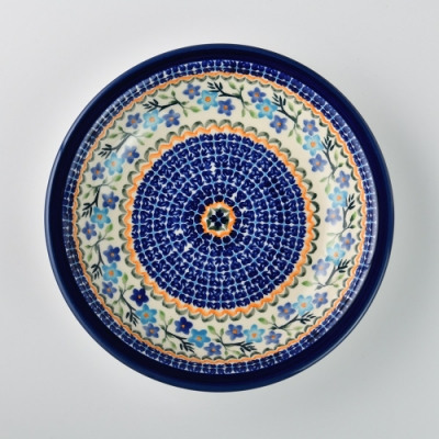 波蘭陶 藍花綠葉系列 圓形深餐盤 22cm 波蘭手工製
