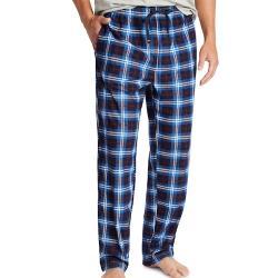 NAUTICA   2020男時尚柔軟藍色格紋法蘭絨長睡褲