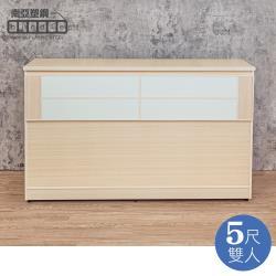 Birdie南亞塑鋼-5尺雙人塑鋼床頭箱(白橡色+白色)