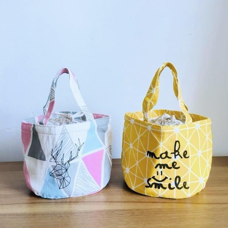 保溫袋 飯盒袋手提袋小帶飯包保溫袋圓形大號手提飯盒包便當包防水【快速出貨八折搶購】