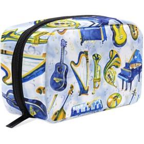 GUKISALA 化粧ポーチ,水彩楽器はすべての種類を設定します,大容量コスメケース多機能旅行用高品質収納ケース メイク ブラシ バッグ 化粧バッグ ファッションバッグ