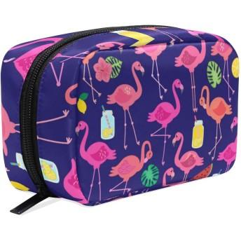 GUKISALA 化粧ポーチ,ベクトルコレクションフラミンゴ熱帯の葉の果実,大容量コスメケース多機能旅行用高品質収納ケース メイク ブラシ バッグ 化粧バッグ ファッションバッグ