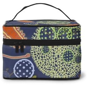 化粧ポーチ 架空の微生物の楽しみ 化粧品バッグ 防水 多機能 大容量 持ち運び便利 旅行する