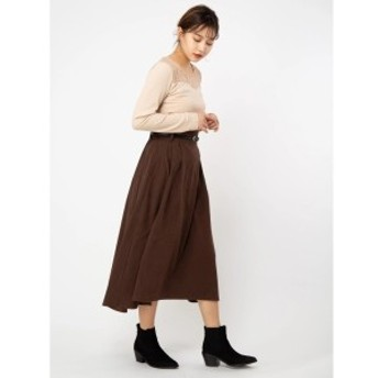 セシルマクビー(CECIL McBEE)/ベルト付きスエードフレアスカート