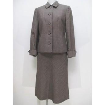 【中古】アリスバーリー Aylesbury セットアップ スカートスーツ ロング丈 7号/9号 ブラウン 総柄 ボタン 裏地