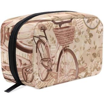 GUKISALA 化粧ポーチ,ビンテージ背景Rosesbirds自転車,大容量コスメケース多機能旅行用高品質収納ケース メイク ブラシ バッグ 化粧バッグ ファッションバッグ