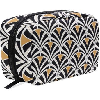 GUKISALA 化粧ポーチ,幾何学的なビンテージアールデコシームレスパターン,大容量コスメケース多機能旅行用高品質収納ケース メイク ブラシ バッグ 化粧バッグ ファッションバッグ