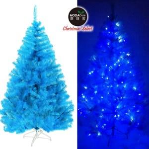 摩達客台製10尺豪華晶透藍系聖誕樹不含飾品100燈LED燈藍白光6串