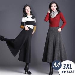 【LANNI 藍尼】現貨 優雅顯瘦毛尼寬版褲裙-2色(M-3XL)