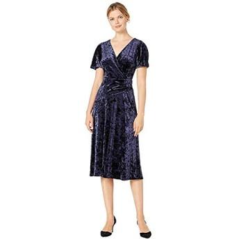 [LAUREN Ralph Lauren(ローレンラルフローレン)] ドレス・ワンピース Empress Panne Velvet Marlin Short Sleeve Day Dress Lighthouse Navy XS [並行輸入品]