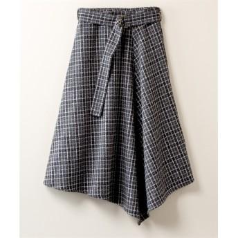 リングツイードフロントフリルスカート【CASSE】 (大きいサイズレディース)スカート, plus size skirts, 裙子