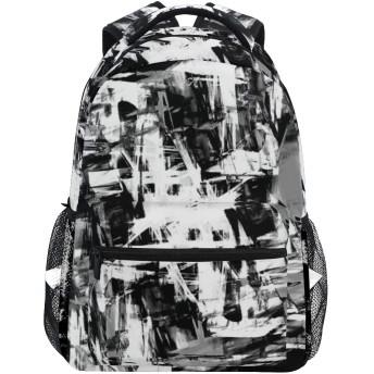 NINEHASA 新しいリュックサック人気リュックおしゃれ 大容量 軽量 通学 旅行ハイキングキャンプバッグ 黒と白のグランジアートワークプリント