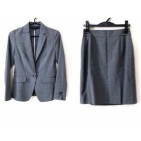 インディビ INDIVI スカートスーツ サイズ3 L レディース 美品 グレー ストライプ【中古】20191210