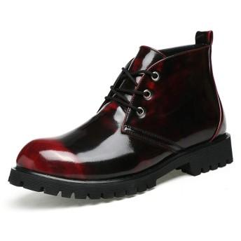 [SJXIN-Mens Boots] レザーブーツ男性、メンズファッションアンクルブーツカジュアルクラシックレースアップハイトップソリッドカラーレジャーブーツ (Color : Wine Red, サイズ : 24 CM)