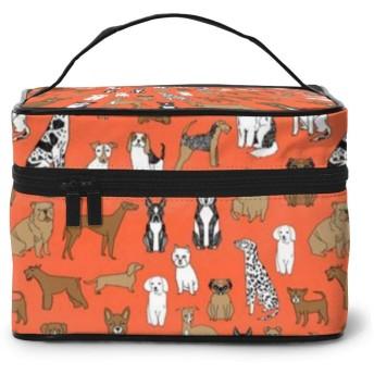化粧ポーチ オレンジ色のかわいいブルドッグ 化粧品バッグ 防水 多機能 大容量 持ち運び便利 旅行する