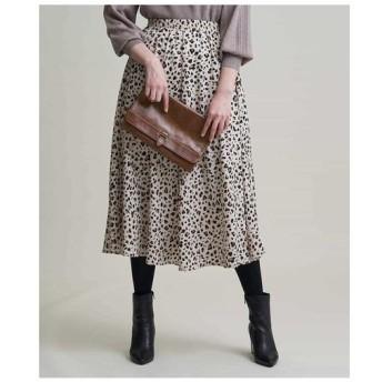 MK MICHEL KLEIN / 【洗濯機で洗える】レオパード柄マキシスカート