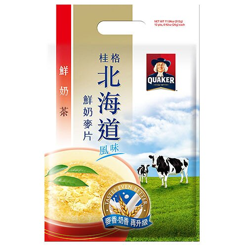 桂格北海道風味 麥香鮮奶麥片-鮮奶茶 (26gX12包)/袋【康鄰超市】