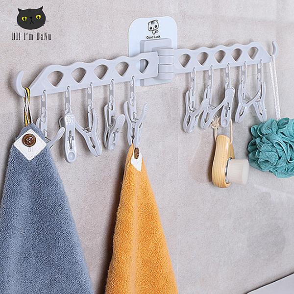 無痕貼壁掛 曬衣夾 橫槓晾衣夾 衣襪架 廚衛掛勾掛架 可調角度 無痕可拆卸10夾【Z90614】