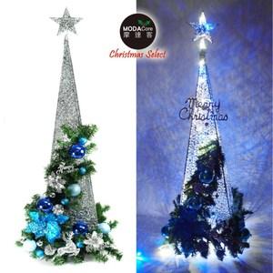 90CM銀藍色系聖誕裝飾四角樹塔聖誕樹+LED50燈插電式燈串藍白光