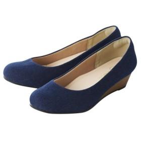 ラウンドトゥウェッジパンプス(低反発中敷)(選べるワイズ) パンプス, Pumps, 浅口皮鞋, 淺口皮鞋