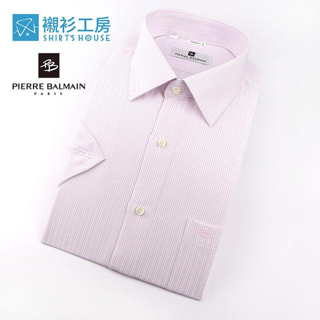皮爾帕門pb白底粉紫細條清涼節能短袖襯衫68041-08 -襯衫工房