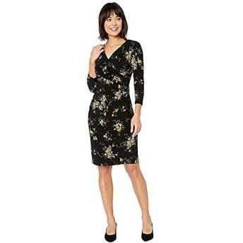 [LAUREN Ralph Lauren(ローレンラルフローレン)] ドレス・ワンピース Floral Surplice Jersey Dress Black/Gold Ochre/Multi XXS [並行輸入品]
