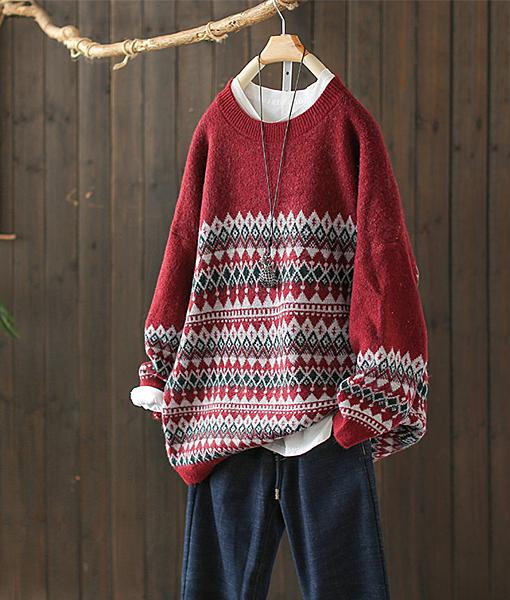 民族風提花毛衣寬鬆針織衫上衣/設計家Y8596