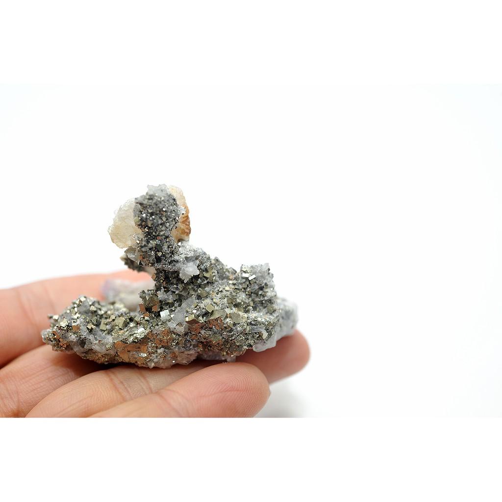 黃鐵礦.黃銅礦.白水晶.共生體原石原礦.晶簇.擺件