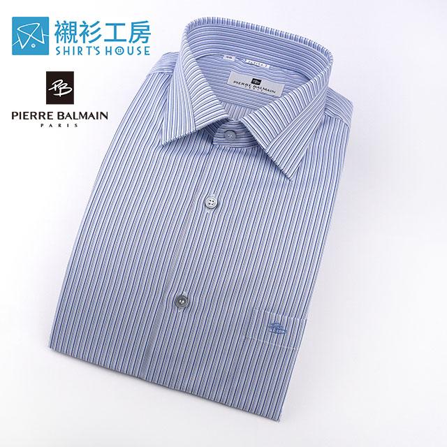 皮爾帕門pb藍色細條紋領面拼接長袖襯衫67154-02 -襯衫工房