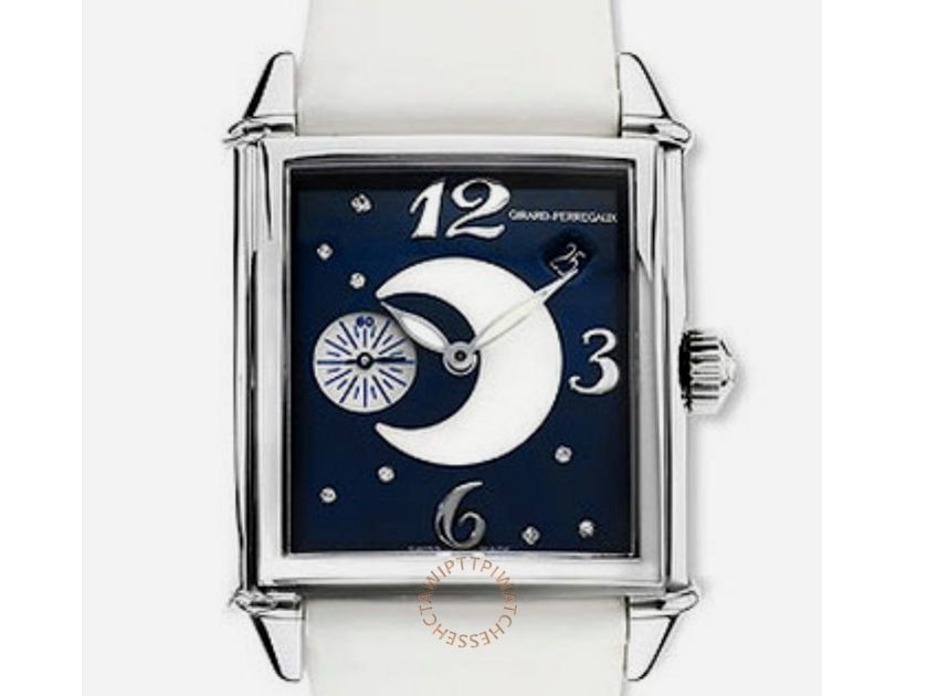 GIRARD PERREGAUX 芝柏 Vintage 1945鑽石不銹鋼白色皮革女士手錶