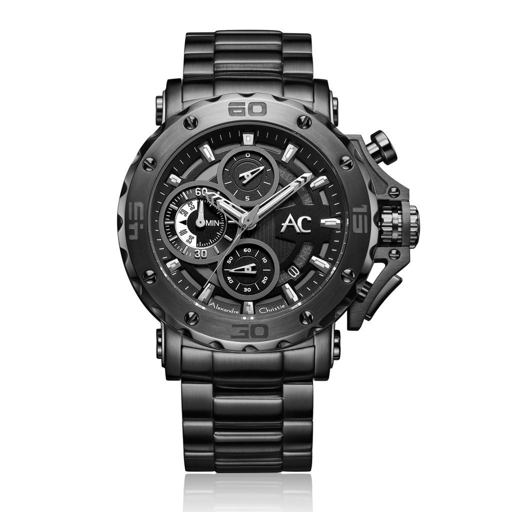 Alexandre Christie AC手錶 男士 三眼計時 熱銷經典潮流款 石英鋼帶 9205MCBEPBA