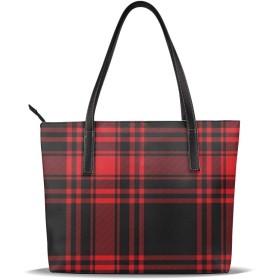 バッグ トートバッグ 黒と赤のチェック柄 手提げ レディースバッグ PUレザー 肩掛け かばん 通勤 軽量 大容量 A4 ビジネス 通学 プレゼント