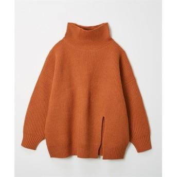 タートルネックフロントスリット入ゆるニット (ニット・セーター)(レディース)Knitting, Sweater