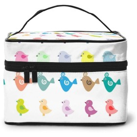 バニティケース コスメケース 化粧ポーチ 化粧ケース メイクボックス 大容量 メイクポーチ バニティポーチ 機能的 バッグ トラベルポーチ コスメ 道具 化粧品 小物入れ 収納 二段 旅行用 いろいろな鳥柄