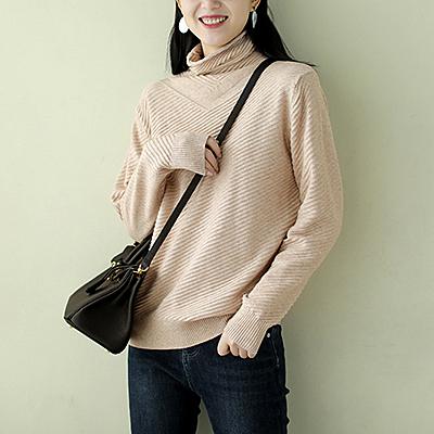 包芯紗針織衫 純色高領毛衣 寬鬆長袖打底衫