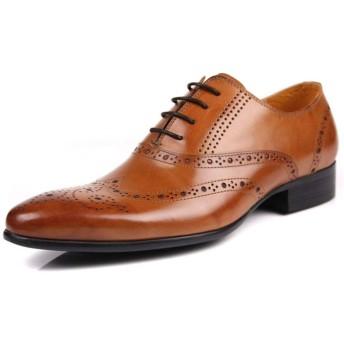 メンズブローグオックスフォードシューズ、フォーマルシューズ紳士靴ビジネスオフィスシューズオックスフォードレースアップ手作りゴム底、グ