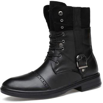 [SJXIN-Mens Boots] レザーブーツの男性、男性フリースの内側ハイトップ足首の靴半長靴メタルバックル付き本革インテリア (Color : ブラック, サイズ : 22 CM)