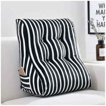 ヘッド クッションをベッド トライアングルウェッジ読書クッションストライプ布張り畳ソファベッド読書背もたれ腰椎サポートクッション (Color : Black, Size : 556030cm)