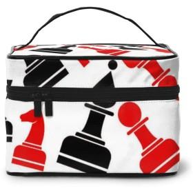 化粧ポーチ チェス柄 化粧品バッグ 防水 多機能 大容量 持ち運び便利 旅行する