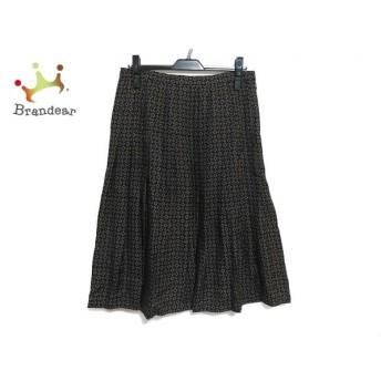 ヨシエイナバ ロングスカート サイズ13 L レディース 美品 黒×ブラウン×パープル プリーツ 新着 20191211