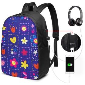 バックパック USB ポート搭載 17インチPC対応 ブロッサムハッピーフラワーチルドレン 大容量ビジネスリュック 通勤 通学 出張 旅行 メンズ レディース