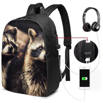 バックパック USB ポート搭載 17インチPC対応 アライグマ動物園 大容量ビジネスリュック 通勤 通学 出張 旅行 メンズ レディース