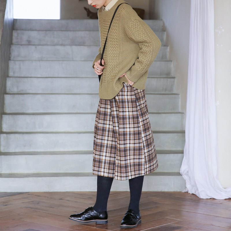 棕色格紋鬆緊半身裙|裙子|冬款|羊毛混紡|Sora-431
