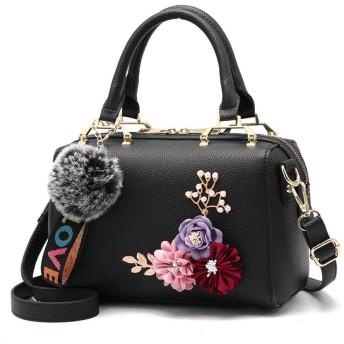 HAOSQ 人工花の女性のバッグハンドバッグバッグ女性の人格トレンドショルダーバッグ三次元の花の女性のバッグ-ブラック