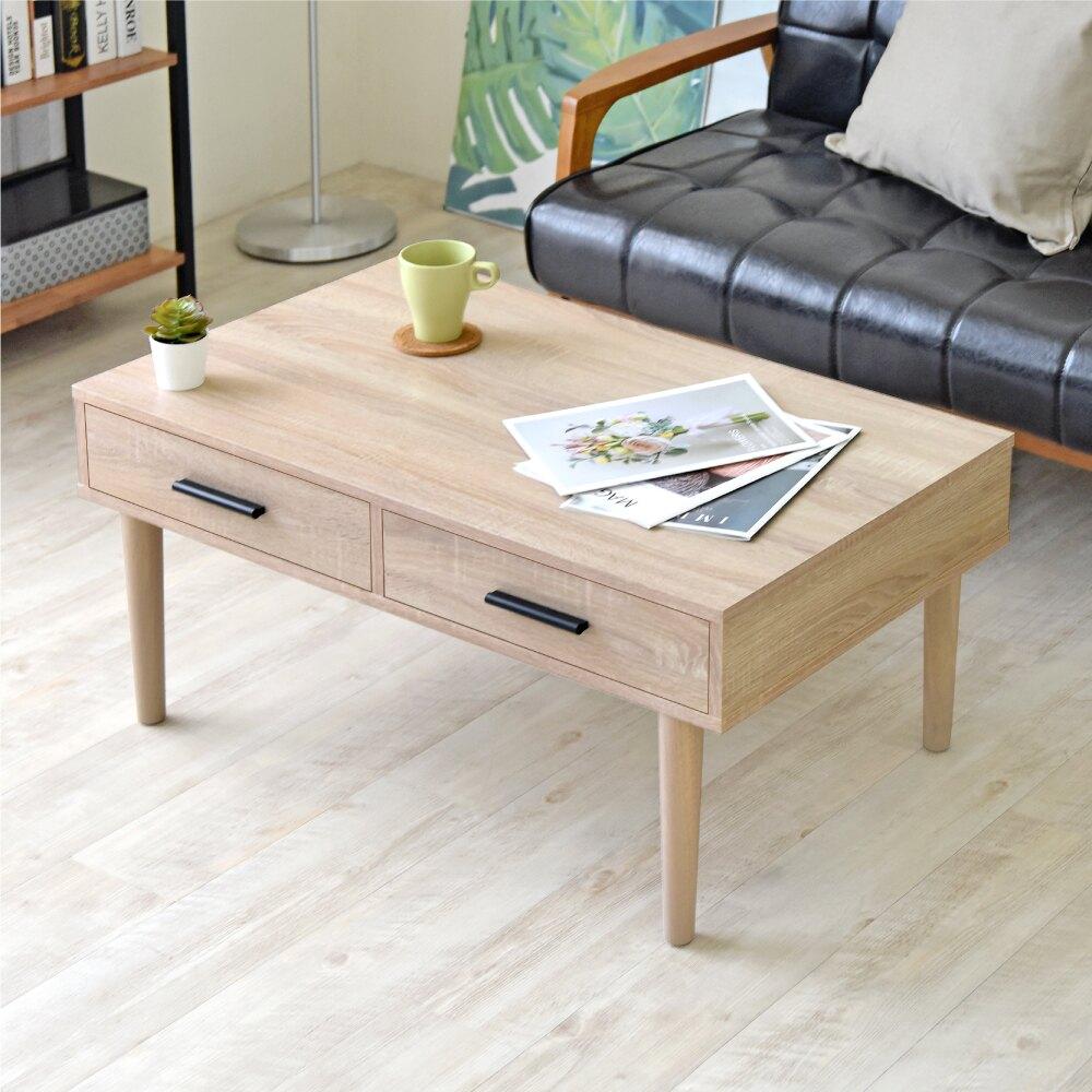 《HOPMA》實木腳二抽茶几桌/和室桌 E-GS940